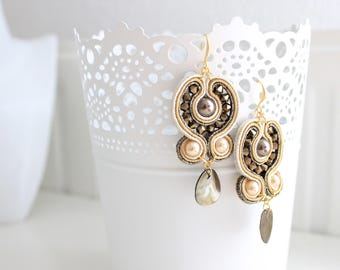Bronze and golden soutache earrings with Swarovski elements, pearls and mother of pearl. Handmade. Customization available. Dangly earrings