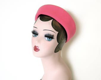 Vintage Pink Wool Soft Pillbox Hat~ Circa 1950's