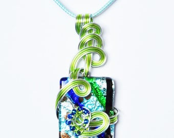 Pendant, son of Aluminium, Rectangle way Murano beads glass. LBC30092016