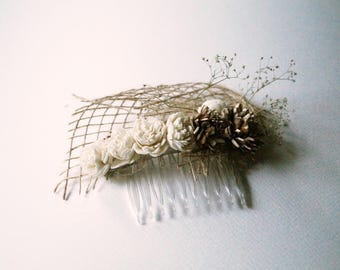 Sola flower Hair Comb Wedding Hair Comb brown burlap Hair flowers hair comb dried flower garden wedding bridal headpiece hair accessories