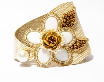 Mother Of Pearl Flower Bracelet Gold Soutache Beige Leather