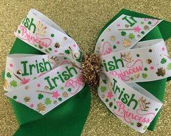Irish Princess Hair Bow St. Patrick's Day Bow St. Patrick's Day Hair Bow Shimmery Gold and Green Shamrock Bow Pink and Green Irish Bow
