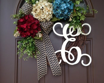 Patriotic wreath - Red White and Blue Decor - Rustic 4th of July Wreath with Monogram - Memorial Day Front Door Decoration- Forth of July