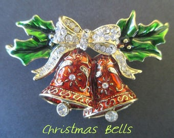 Christmas Bells Pin * Rhinestone Bow * Dangle Rhinestones * Enamel * Green And Red * Holiday Pin