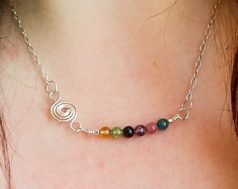 Tourmaline and Sterling Silver Wave Bar Necklace / Maine Made Jewelry / Swirl Spiral Layering Necklace / Gift for Her / Pink Green Gemstone