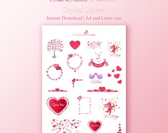 Pink Glitter Love stickers, valentines day, digital stickers, romantic stickers, decorative stickers, love planner