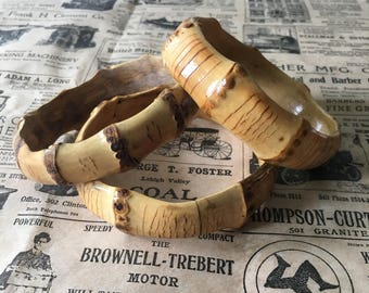 NEW!! Thick Single Bamboo Bangle - Round Tiki 1950's