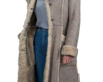Vintage 1970s grey suede and sheepskin coat - 70s Penny Lane Almost Famous Afghan coat - Seventies boho shearling detail long coat