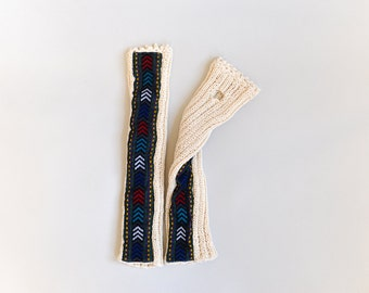 Crocheted Fingerless Gloves with Ethiopian Embroidery