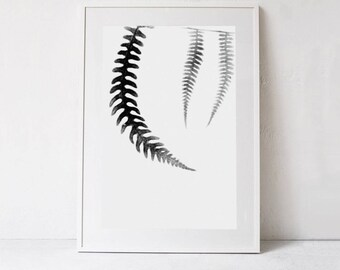 Minimalist Art, Botanical Printable Poster, Plant Printable Art Print, Fern Art Tropical Leaf, Black and White Wall Art INSTANT DOWNLOAD Art