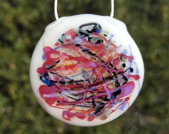 Heady Glass Pendant Necklace Handmade Contemporary Abstract Art Glass Signature Jewelry