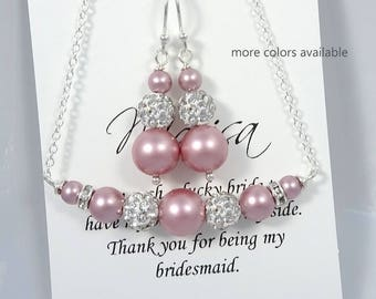 Pink Jewelry Set, Bridesmaid Gift Jewelry Set, Pink Wedding Jewelry, Bridesmaid Jewelry Set, Will You Be My Bridesmaid, Bridal Party Jewelry