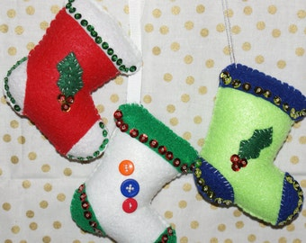 3 pc set of handcrafted  felt stocking ornaments  **SALE** was 10.00