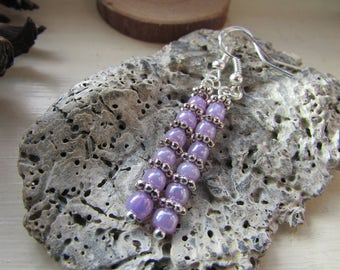 Lilac earrings, Lilac and silver earrings, Silver plated earrings, Dangle earrings, Beaded earrings, Hooked earrings, Gifts for her