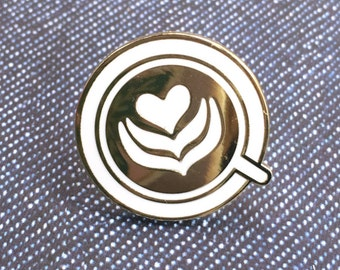 Latte Heart White and Gold Hard Enamel Pin