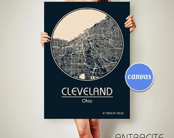 CLEVELAND Ohio CANVAS Map Cleveland Ohio Poster City Map Cleveland Ohio Art Print Cleveland Ohio poster Cleveland Ohio map