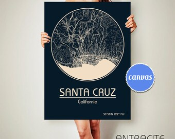 SANTA CRUZ California Map Santa Cruz Poster City Map Santa Cruz California Art Print Santa Cruz California Santa Cruz California ArchTravel