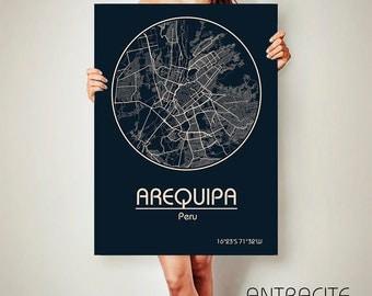 AREQUIPA Peru CANVAS Map Arequipa Peru Poster City Map Arequipa Peru Art Print Arequipa Peru poster Arequipa map art Poster Arequipa map