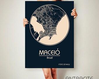 Maceió Brazil CANVAS Map Maceió Brazil Poster City Map Maceió Brazil Art Print Maceió Brazil