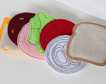 Felt Pretend Food ~ Sandwich ~ Play Food ~ Pretend Kitchen ~ Pretend Restaurant ~ Waldorf Inspired ~ Montessori Play ~ Toddler Gift