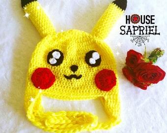 FREE SHIPPING!! Handmade pikachu hat with love and dedication ,Hat pikachu ,cute pikachu