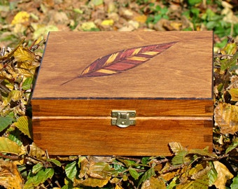 made to order wooden tea box pyrography personalized jewelry box feather wooden tea organizer wood burned tea box tea bag box