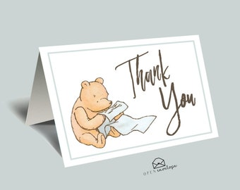 Winnie The Pooh Thank You Card | Classic Pooh | Instant Downloand | Thank You Cards | Printable Thank You Cards | Classic Winnie The Pooh