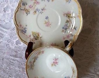Vintage Haviland Limoges Double Gold Teacup Set, Antique Limoges Schleiger Double Gold Floral Teacup, Limoges Double Gold Floral Teacup Set