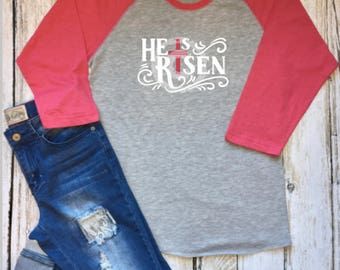 He Is Risen Easter Cross Raglan Pink Baseball Shirt