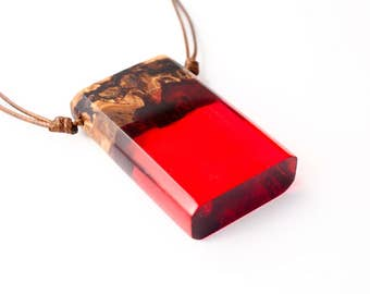Red Resin and Wood Pendant; Wood and Resin Jewelry, Wood and Resin Pendant, Resin Jewelry