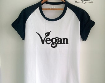 Vegan Shirt Vegan T Shirt Vegan Logo Merch for Women Girls Men Tumblr Vegetarian Baseball Jersey Top Tee White/Grey