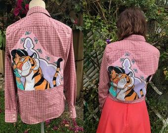 Aladdin Shirt- Disney Aladdin- Japanese Lolita Shirt- Sakura Shirt- Cute Shirt-Princess Jasmine Shirt- Rare Vintage Disney Fabric- Size 6
