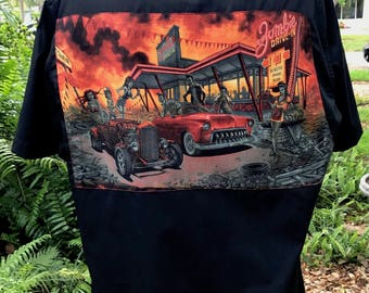 Rat Rod Hot Rod Rockabilly Shirt Psychobilly 50's Diner Zombies Rare Fabric Size XL