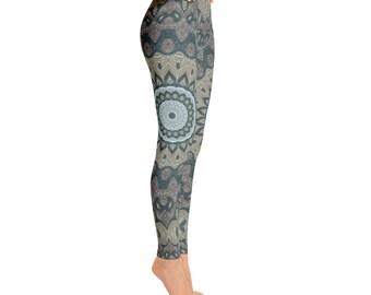 Mid Rise Printed Leggings for Women - Tribal Yoga Pants, Mandala Patterned Boho Leggings, Shaman Clothing