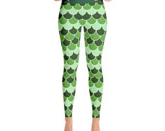 Saint Patrick's Day Leggings - Bright Green Yoga Pants, Dragon Scales, Mermaid Scales, Fish Scales, Green Mermaid Leggings