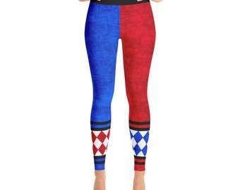 Harlequin Leggings - Red, White and Blue Joker Jester Tights, Harley Quinn Cosplay Costume Pants