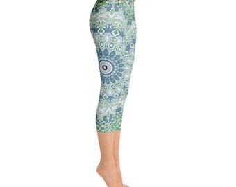 Capris - Printed Leggings, Blue and Green Mandala Yoga Pants, Womens Stretchy Yoga Leggings, Fashion Leggings