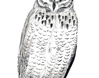 """Great Horned Owl - 9 x 12"""" Original Painting, Waterproof Ink on Watercolor Paper."""