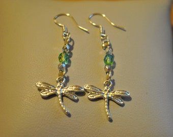 Handmade earrings with czech crystal beads and a dragonfly charm
