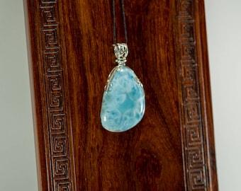 Larimar and Silver Pendant LR114 - Ocean Blue & Aqua 83.5ct
