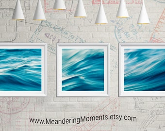 Photo Art for a Cause -  Instant Download, Print, teal water waves, photo, photography, Turquoise, abstract, art, home, set of 3, color,
