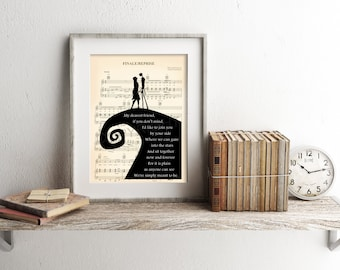 The Nightmare Before Christmas Jack and Sally Simply Meant To Be Sheet Music Art Print