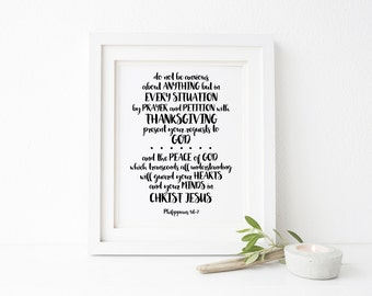 Philippians 4:6-7 Scripture Printable Wall Art 8x10, 5x7, 11x14, Bible Verse Printable, Do Not be Anxious about Anything, Scripture Print