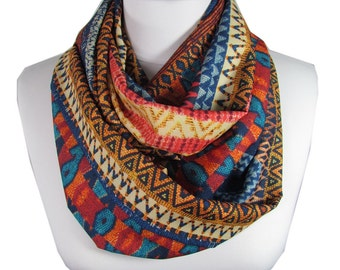 Tribal Scarf Infinity Scarf Women Southwestern Scarf Aztec Circle Scarf Fall Winter Accessories Christmas Gift For Her Gift For Women FATOZ