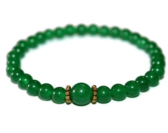 Minimalist Emerald Bracelet Green Bead Bracelet Simple Jewelry Emerald Jewelry Healing Stones Prayer Bracelet Japa Meditation Beads Men Gift