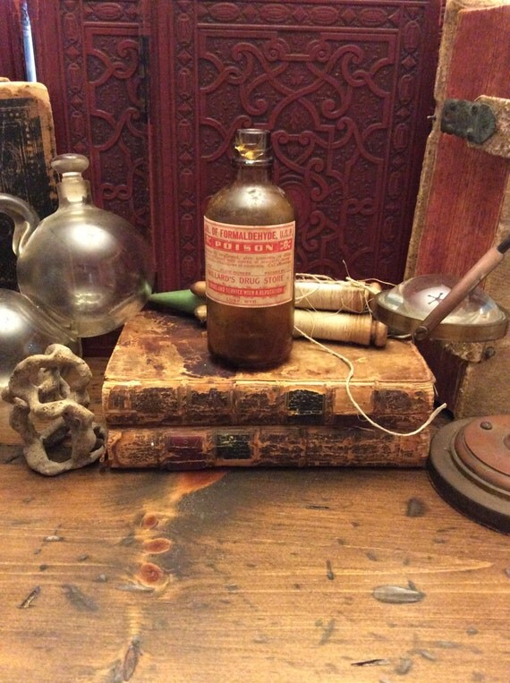 Poison Bottle, Formaldehyde, Brown Glass Medicine Bottle, Apothecary, Pharmacy (0056)