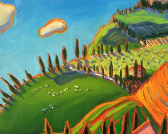 Tuscany Imaginary Colorful Landscape Original Oil Painting Wall Art