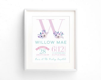Birth Announcement Wall Art | Birth Details Print | New Baby Gift | Baptism Gift | Nursery Decor | PRINTABLE 8x10 Sign