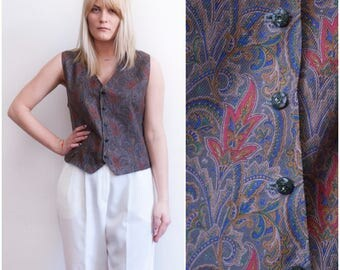 80s Waistcoat 90s Paisley Vest Womens Medium Waistcoat Sleeveless Button Up Top V Neck Waistcoat Mens XS Vest Botanical Print Boxy Vest M XS