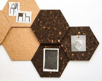 Modular Cork Hexagon Tiles, Dark - Set of 3 / Noticeboard / Bulletin Board / Message Board / Home Office / Organization
